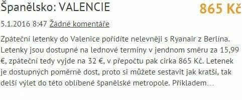 Valencie 868 Kč