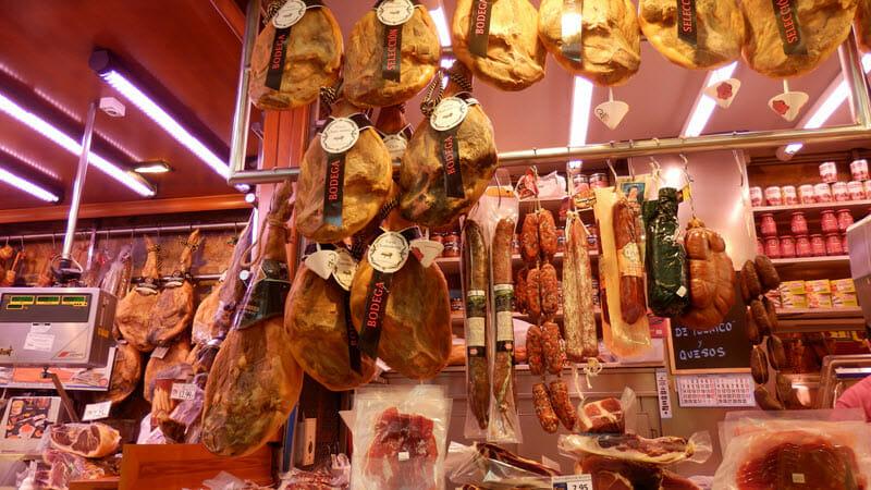 Valencia, tržnice, šunky