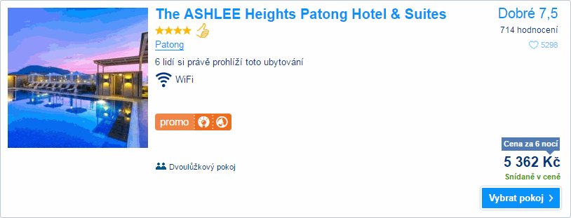 The ASHLEE Heights Patong Hotel & Suites, 5.362 Kč