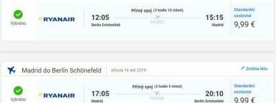 Berlín - Madrid, 14. až 16. leden (Letenky Ryanair)